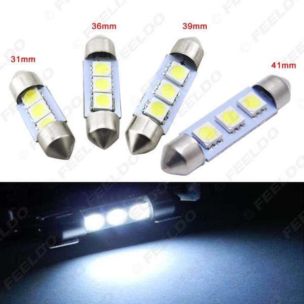 FEELDO 50PCS Voiture Blanche Auto 31/36/39 / 41mm 5050 Puce 3-SMD Lampes De Lecture Festoon Dome LED Ampoules # 3052