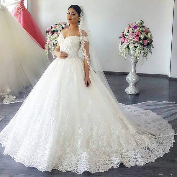 Acheter 2019 Luxe Dentelle Princesse Hors De Lépaule Robes De Mariée Sheer Back Princesse Illusion Applique Robes De Mariée Robe De Mariage De