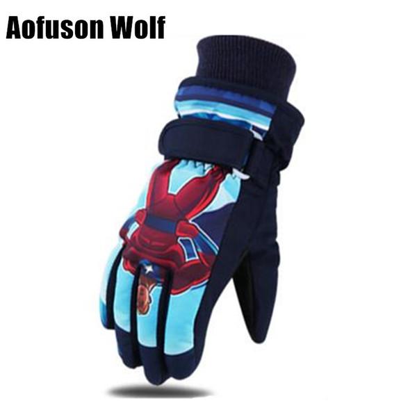 Kids Ski Snowboard Gloves Waterproof Breathable Warmth Plus Thick Velvet Winter Snow Sports Cartoon Boy Girls Child Gloves 2018