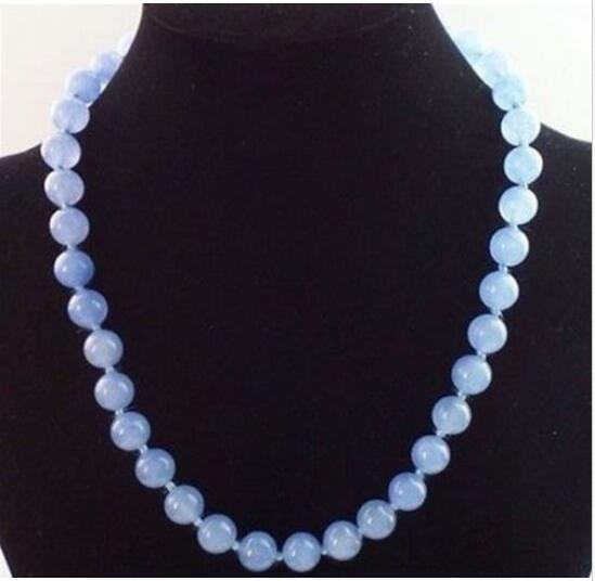 """Details about Natural 10mm Blue JADE ROUND GEMSTONE BEADS NECKLACE 18"""""""