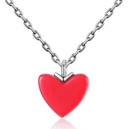925 Pure Silver Small Red Necklace Female Heart Red Peach Heart Girl's Heart Lock Chain Summer Shape Simple Pendant.