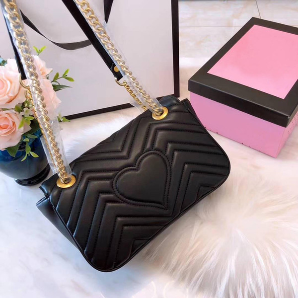 Brand Marmont Woman Flap Shoulder Bag Luxury Designer Heart Female Crossbody Messenger Bags Gold Chain Handbag Closure 8 colors With Box