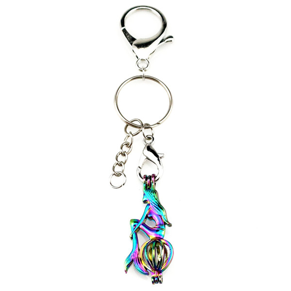 Key Chains Keychain Silver Plated Key Ring Clasp with Mermaid Beads Cage Locket Y242 Fun Gift