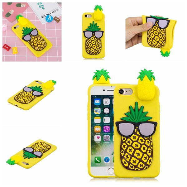 For Iphone XR XS MAX X 10 8 7 Plus 6 SE 5 5S 3D Panda Cartoon Soft Silicone Case Dog Unicorn Pineapple Glasses Cover Rubber Cat Phone Skins