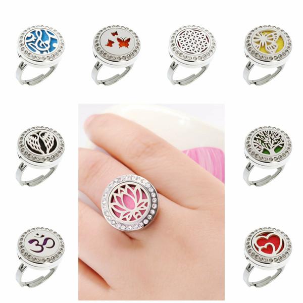 Lotus Flower Wing Crystal Adjustable Rings 20mm Stainless Steel Diffuser Locket Ring Essential Oil Perfume Locket Ring With 10pcs Pads