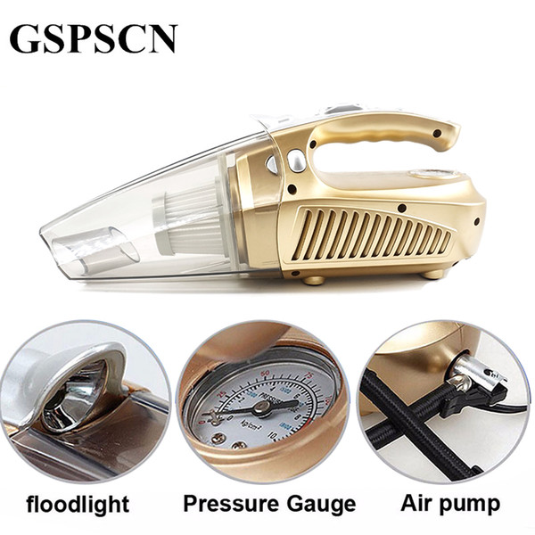 Gspscn Multi -Function Portable Car Vacuum Cleaner 12v 120w Wet And Aspirador Pressure Pneumatic Lighting Tire Inflatable Pump