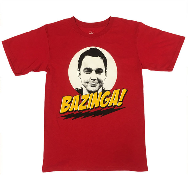Die Urknalltheorie BAZINGA! Sheldon Cooper T-Shirt - UNISEX ROT - lizenzierte lustige kostenloser Versand Unisex Casual Geschenk