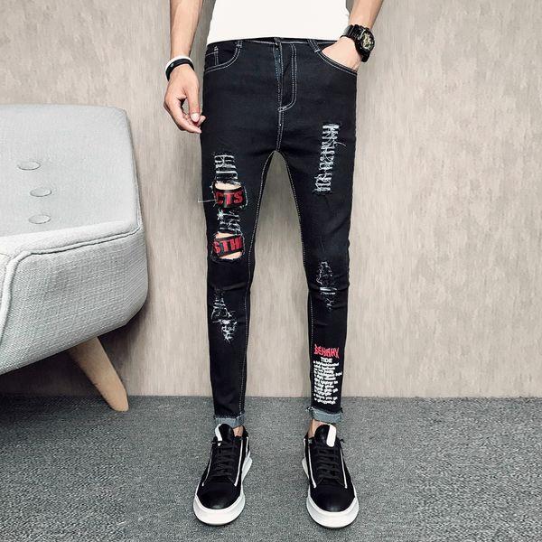 Kowaunkeenly 2018 new arrival Men's printed Slim Denim Jeans,Fashion Splice hole black jeans pencil pants,size 28-34.