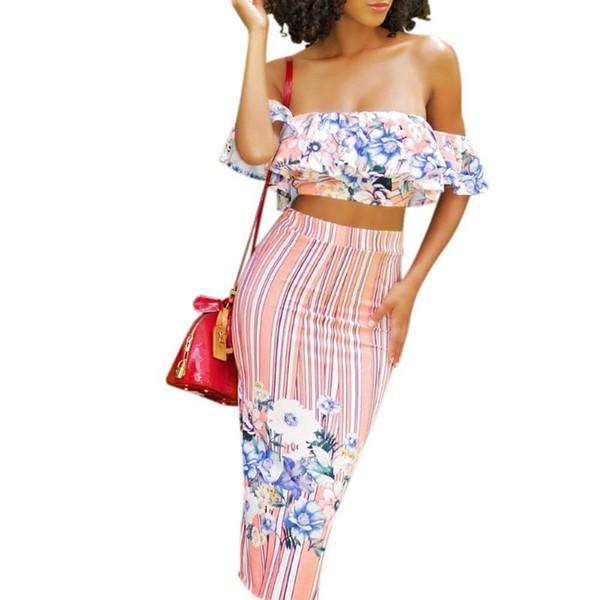 3a3ecaa9e0b60 Summer Skirt Women 2 Piece Sets Sexy Women ElePrint Floral Set Ruffle Off  Shoulder Top Empore High Waist Slit Midi Skirt