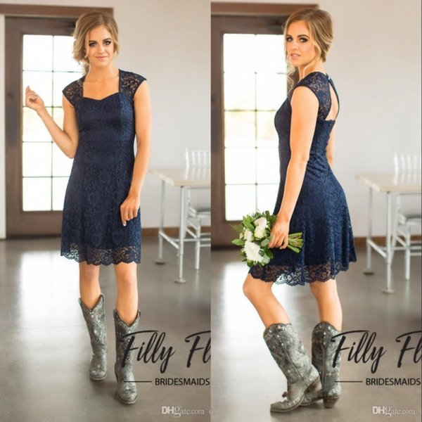 Cheap Custom Made Dark Navy Full Lace Country Bridesmaid Dresses Square Neck Backless Sexy Knee Lenth Wedding Guest Dress For 2019 Wedding