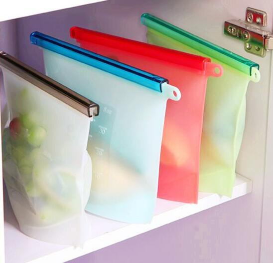 Reusable Silicone Food Fresh Bags Wraps Fridge Food Storage Containers Refrigerator Bag Kitchen Colored Ziplock Bags 4 Colors