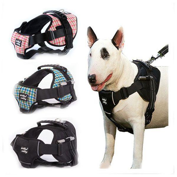 Houndstooth Style Large Hundegeschirr Strong Pet Dog Training Weste Große Leine Set Weiche Walk Out Harness Hohe Qualität Kragen