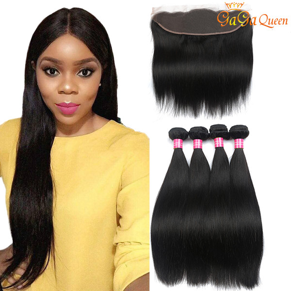 Brazilian Straight Human Hair Bundles with Ear to Ear Lace Frontal With Bundles Unprocessed Brazilian Straight Hair With Frontal Closure