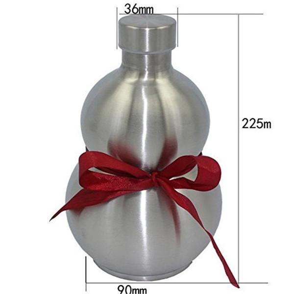 Botella de frasco de Whisky de vino de calabaza de acero inoxidable de ABRAMZ Caja de frasco de plata de flagon Kettle negro 64oz Herramienta de cocina casera Estilo chino