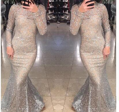 Shiny Silver Sequins Dubai Mermaid Evening Dress Long Sleeves Arabic Formal Prom Dresses 2018 Gold Bodycon Maxi Dress Party Gown