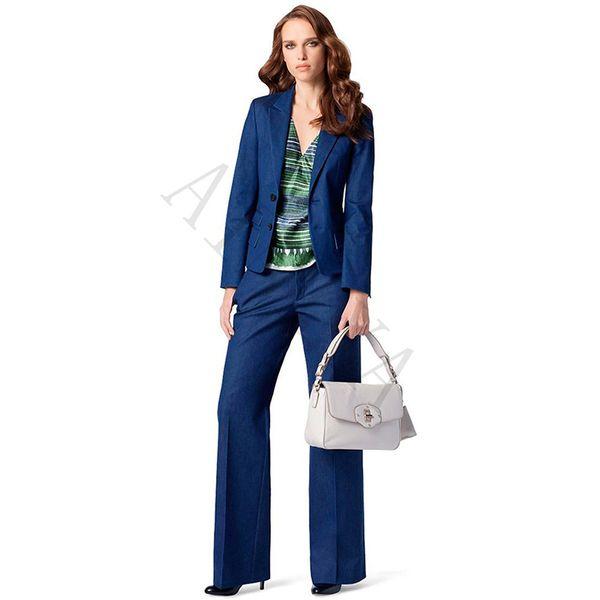 Lake Blue Womens Business Ternos 2 Conjuntos de Peças Formais OL Senhoras Calças Terno Dois Botões Feminino Escritório Uniforme de Trabalho Desgaste Personalizado