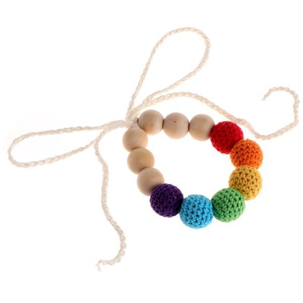 Wood Crochet Teething Nursing Breastfeeding Necklace Chewable Jewelry Beads Toys