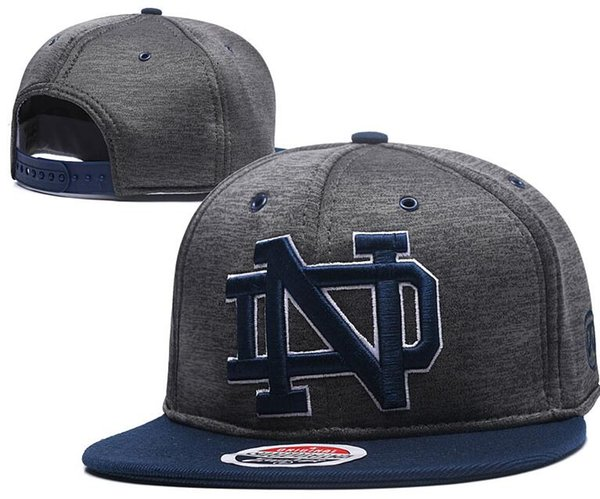 NCAA Notre Dame Fighting Irish Caps 2018 New College Adjustable Hats All University Snapback Gray Black Navy Blue Green Free shipping UND