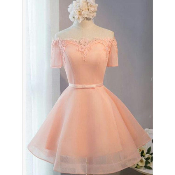 Elegant Coral Short Evening Dresses Formal Gowns Off the shoulder with Sleeves Applique Lace A line Satin Ribbon Bows Prom Homecoming Dress