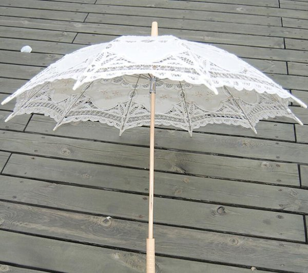 Ivory Lace Parasols for Bride and Bridesmaid Fancy Embroidery Hollow Wedding Umbrella Good Quality Custom Color Service