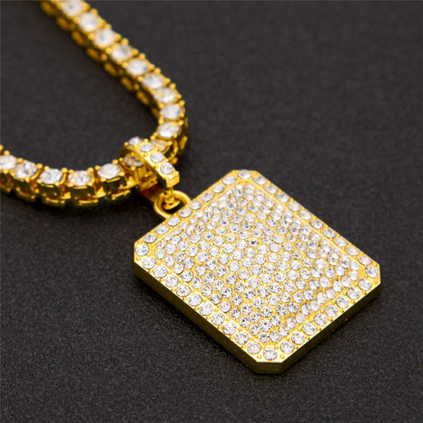 Men Hip Hop Dog Tag Military Pendant Necklaces For Men Full Diamond Rhinestone Gold Plated Hip Hop Jewelry