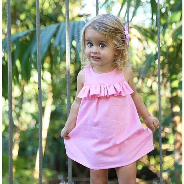 Baby Girls Ruffled Dress 1-4T Sleeveless Dresses Summer Cotton Skirt Breathable Pink Dress Round Neck TIANGELTG