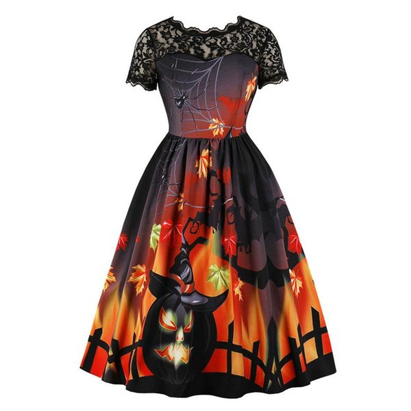 Ladies Women's Fashion Halloween Lace Short Sleeve Vintage Gown Evening Party Dress Halloween Party Fast Sending Drop Shiping