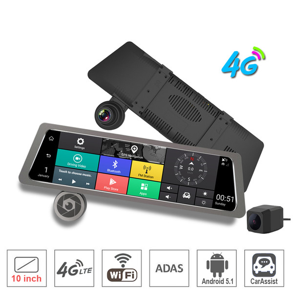 """10"""" Touch Screen bundled Rearview Mirror Car DVR Camera 4G wifi bluetooth ADAS Android GPS Navigator Dual camears Full HD Front And Rear Cam"""