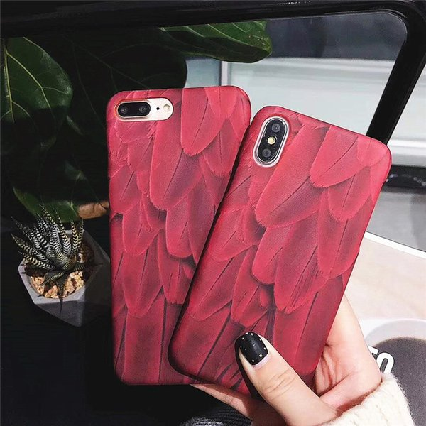 Fashion Red Feather Phone Case for iphone X 8plus Hard PC Back Cover for iphone 8 7 6 6s plus Coque