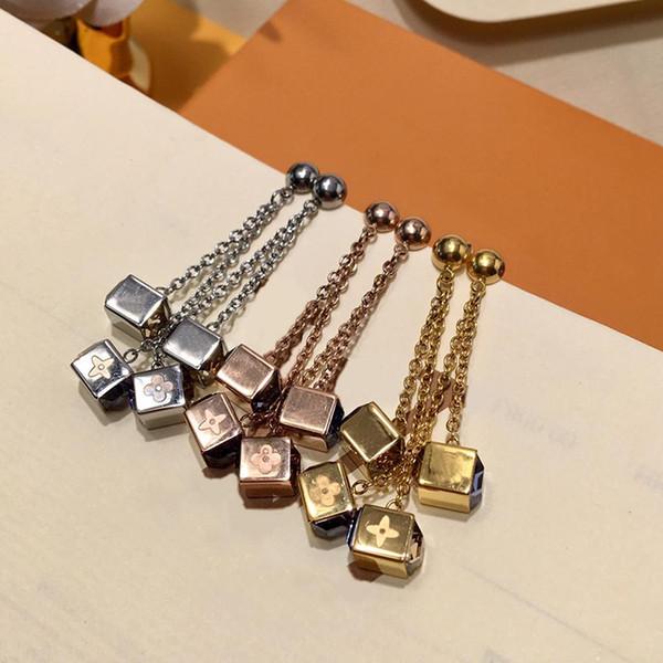 Orecchini in acciaio inossidabile di marca di alta qualità in oro rosa 18 carati orecchini in oro rosa per gli amanti della moda e degli hipster