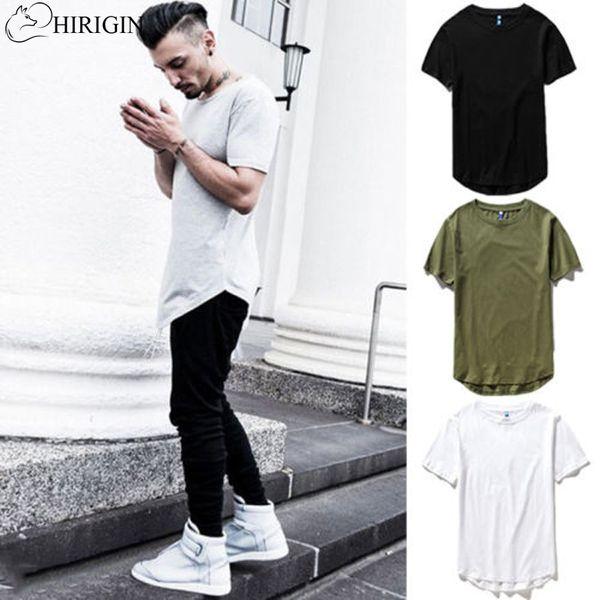 HIRIGIN 2017 Herren Hip Hop Lange T-shirt Erweiterte Grundlegende Rundhalsausschnitt Längliche M-2XL Longline T Mode Casual marke mode