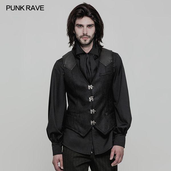 Punk Rave Steampunk Mens Party Gilet Vest Black Steampunk Rock Motocycle Abbigliamento