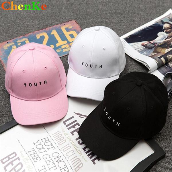 ChenKe Moda Kap Kadın Erkek Pamuk Kapaklar Kadın Mektup Nakış Katı Yetişkin Beyzbol Kapaklar Siyah Beyaz Şapka Snapback Kap