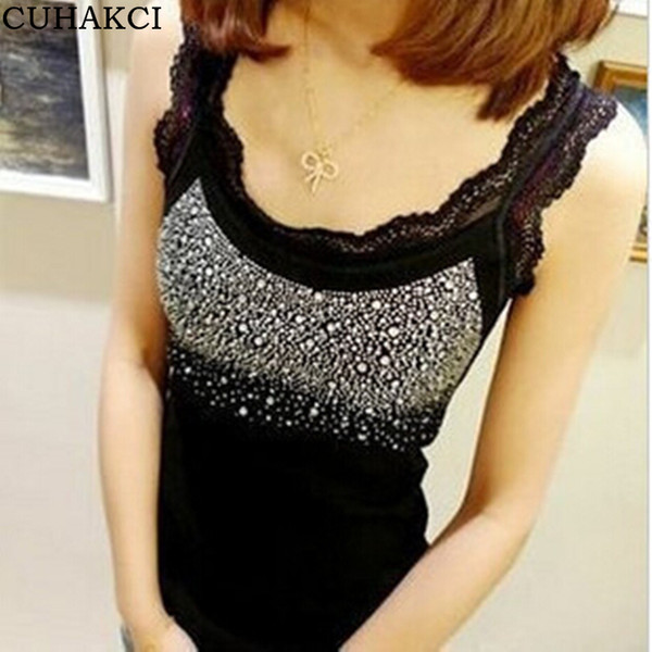 Sequin Lace Tank Top Women Rhinestone Halter Sleeveless Blouse Patchwork Lace Low Bust Sexy Sling Shirt Hot Drilling Corset