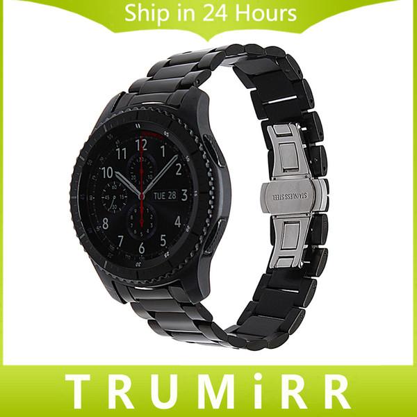 Großhandel gebogenes Ende Edelstahl Armband 22mm für Samsung Gear S3 Classic Frontier Uhrenarmband Butterfly Buckle Wrist Belt Bracelet