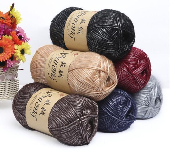 top popular 100g ball Silk Cotton Knitting Yarn Crochet Needlework Thick Wool Thread Yarn For Hand Knitting Scarf Sweater Eco-friendly 2021