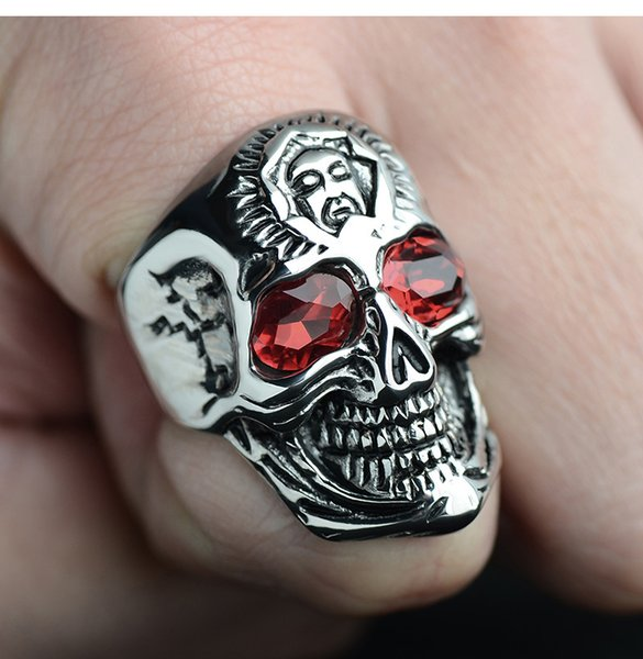 Ruby Taro Men's Ring Punk Domineering Retro Titanium Steel Personality Rock and Roll Hip Hop Men's Ring