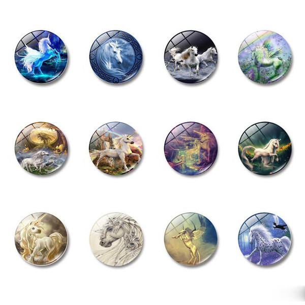 Unicorn Fridge Magnets Art Horse Glass Dome Cabochon Lovely Animal Refrigerator Magnetic Sticker Fairy Tale Home Decoration Free DHL