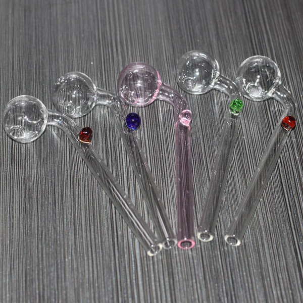 5.5 Inch Curved Glass Oil burners Glass Bong Water Pipes with different colored glass balancer for smoking