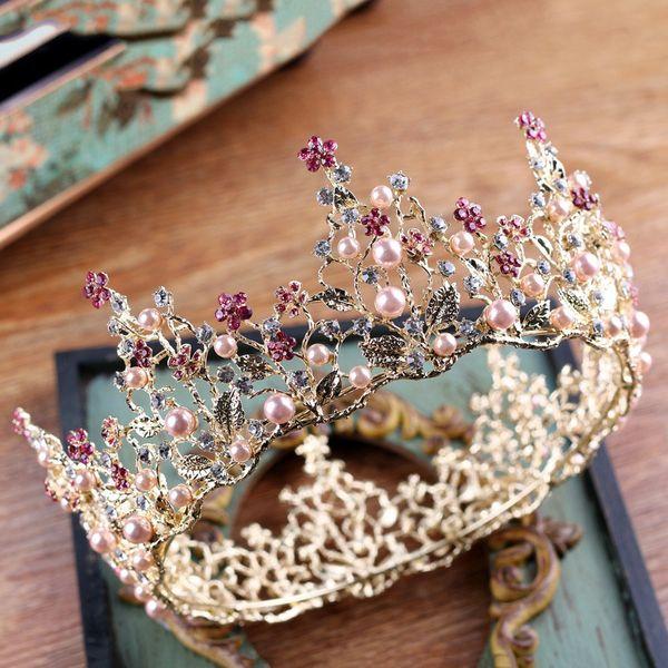 2018 High Quality Baroque Tiaras Floral Charms Handmade Multi Rhinestone Encrusted Pearls Wedding Headpieces Crown Bridal Accessories