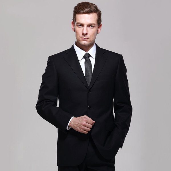 2018 Men Suits Black Notched Lapel Evening Dress Wedding Suits Bridegroom Custom Made Slim Fit Tuxedos Best Man Blazer Prom Party 2Pieces