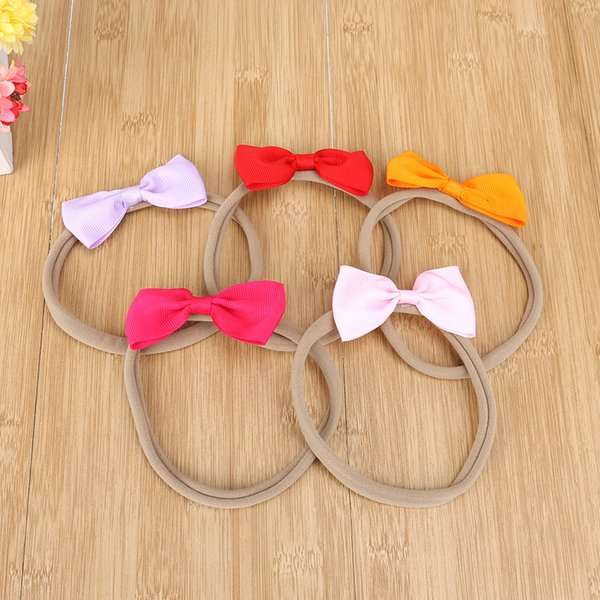 10pcs/Lot Kids Lovely Girls Nylon Hairbands Bowknot Headwear Headbands Elastic Hairband Children Hair Accessories