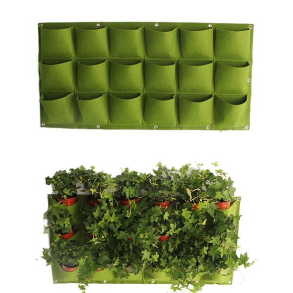 Jardinière Plante Pots Sac 18 Poches Planteur Sur Tenture Murale Vertical Feutre Jardinage Plante Décor Green Field Grow Container Bags Outdoor