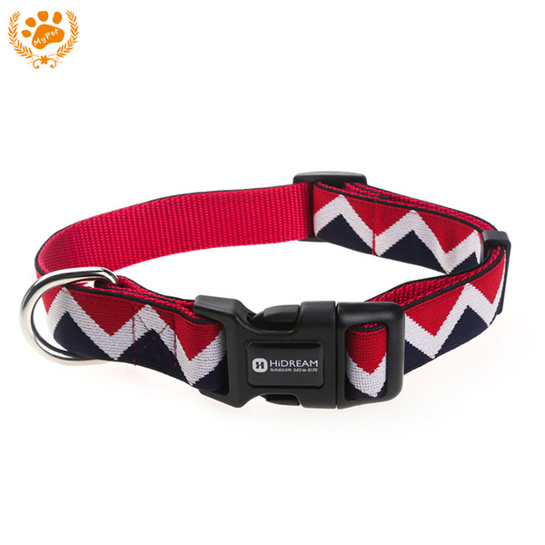 Outdoor Nylon Dog Collars Mascotas Pet Dogs Neck Straps Puppy Led Dog Collar Strong Colorful Wave 40-62CM Adjustable HD002004