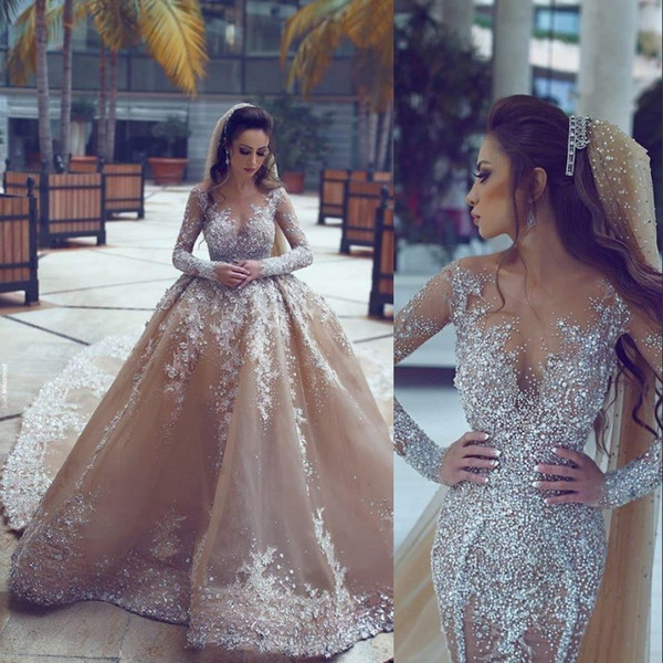 Amzaing Rhinestone Saudi Arabic Wedding Gown Detachable Train Luxury Beaded Long Sleeve Mermaid Wedding Dress Gorgeous Dubai Wedding Dresses