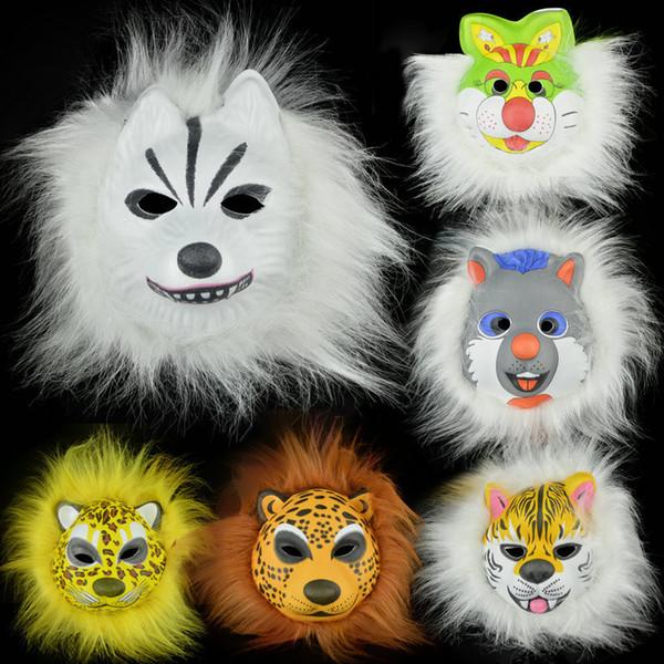 plush animal masks lion leopard Fox dog children EVA mask halloween costumes Halloween mask toy best gift for Kids hallowen party costumes