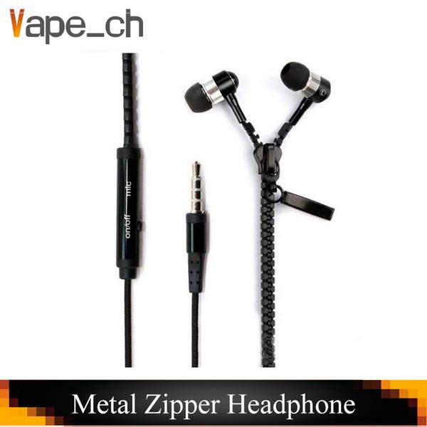 Metallreißverschluss-Kopfhörer im Ohr 3.5mm runde Kopf In-Ear-Reißverschluss-Kopfhörer-Steuergesprächs-Metallkopfhörer für Handy iphone Samsung