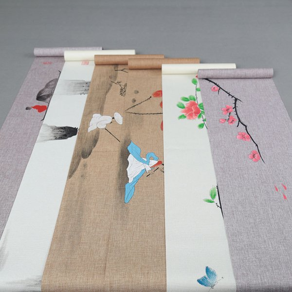 Chinese Style Hand Painted Plum Blossom Cotton Linen Tea Mat Home Dinner Desk Pad Vintage Teaware Cushion Accessorie Table Runner Cover