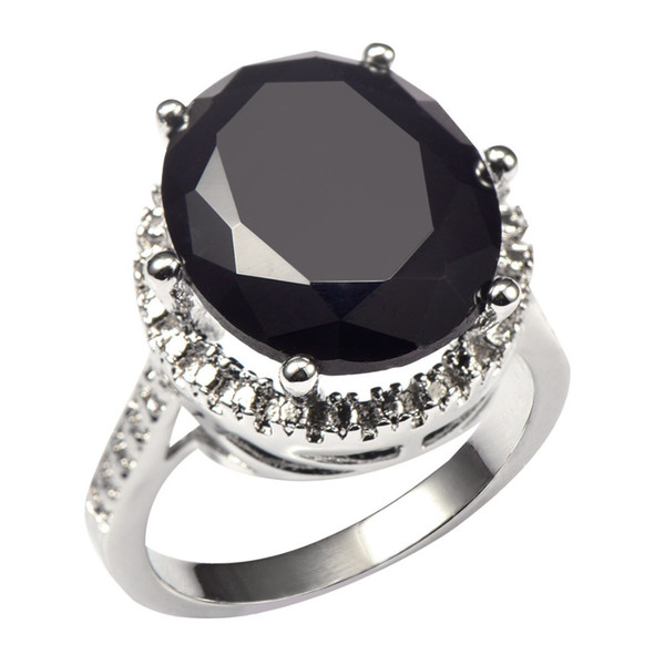 black onyx Huge Black onyx With Multi White Crystal Zircon 925 Sterling Silver Factory price Ring For Women Size 6 7 8