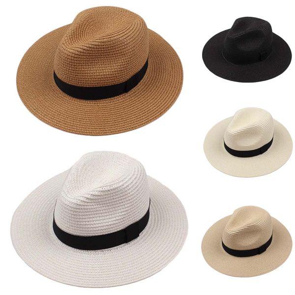 Summer Paille Homme Sun Chapeaux Fedora Trilby Gangster Cap Plage Chapeau Sombrero Voyage